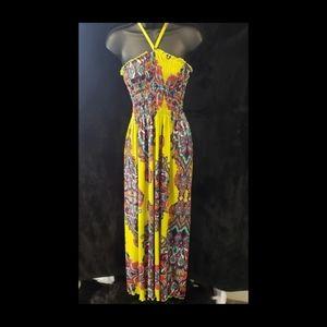 Dresses & Skirts - Neon Yellow Print Maxi Dress